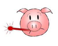 Cabeça do porco da gripe h1n1 dos suínos ilustração stock