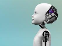 Cabeça do robô da criança no perfil. Foto de Stock Royalty Free