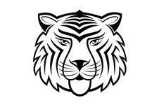 Cabeça do tigre, tatuagens preto e branco ilustração royalty free