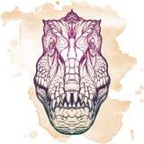 Cabeça do tiranossauro com sinal do t-rex no fundo do Grunge Fotografia de Stock