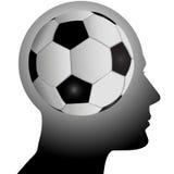 A cabeça do ventilador tem o futebol do futebol na mente Fotografia de Stock Royalty Free