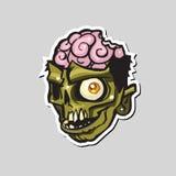 Cabeça do zombi dos desenhos animados Ilustração do vetor Foto de Stock Royalty Free