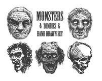 Cabeça do zombi, mão tirada, vetor eps8 Imagens de Stock