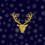 Cabeça dos cervos do brilho do ouro com chifres ramificados ilustração royalty free