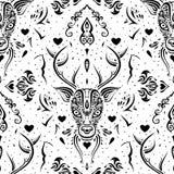Cabeça dos cervos Teste padrão sem emenda Imagens de Stock Royalty Free