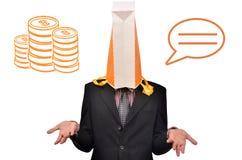 Cabeça dos homens coberta com a compra Imagens de Stock