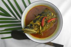 Cabeça dos peixes cozinhada com molho do caril do coco no fundo branco foto de stock royalty free