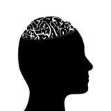 Cabeça e cérebro mostrados em silhueta Foto de Stock Royalty Free