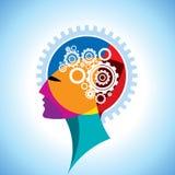 Cabeça e engrenagem do cérebro ilustração do vetor