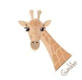 Cabeça e pescoço de um girafa em um estilo liso ilustração stock