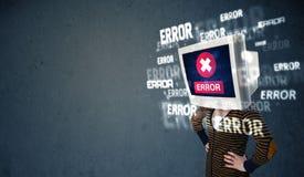 A cabeça fêmea do monitor com erro assina na tela de exposição Imagem de Stock Royalty Free