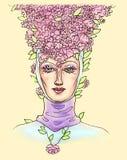 Cabeça fêmea em uma mantilha medieval com um olhar calmo do amor e pétalas da flor em sua cabeça, beleza em um chapéu feito da co ilustração do vetor