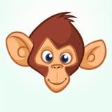 Cabeça feliz do macaco dos desenhos animados Ícone do vetor do chimpanzé Projeto para a etiqueta, o ícone ou o emblema ilustração royalty free