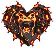 Cabeça flamejante do leão sob a fôrma do coração Fotografia de Stock Royalty Free