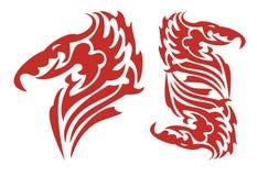 Cabeça flamejante tribal do dragão no formulário do fogo Fotos de Stock Royalty Free