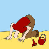 Cabeça furada na areia Fotos de Stock