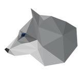 Cabeça geométrica poligonal abstrata do lobo do triângulo isolada no fundo branco para o uso no projeto Fotografia de Stock Royalty Free