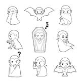 A cabeça grande do caráter de Dia das Bruxas levanta o livro para colorir de Dracula Imagens de Stock
