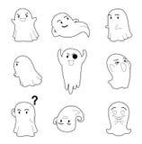 A cabeça grande do caráter de Dia das Bruxas levanta pouco livro para colorir de Ghost Imagens de Stock Royalty Free