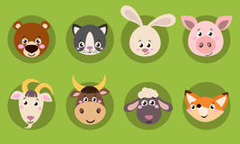 Cabeça grande do grupo de ícones dos animais Cara engraçada da coleção do vetor dos animais ilustração stock
