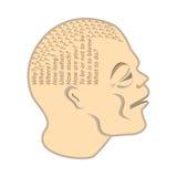 A cabeça humana é enchida com as perguntas constantes Foto de Stock