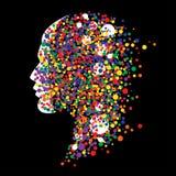 Cabeça humana abstrata no fundo preto Imagens de Stock Royalty Free