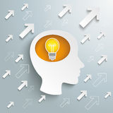 Cabeça humana Brain Arrows Bulb Success Foto de Stock Royalty Free