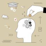 Cabeça humana com engrenagens Educação de pensamento A mão põe o artigo Fotos de Stock
