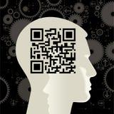 cabeça humana com o QR-Código Fotos de Stock Royalty Free