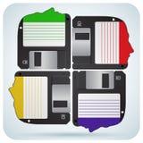 Cabeça humana do grupo como disquetes Imagens de Stock