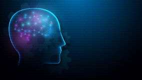 Cabeça humana e cérebro com conceito da inteligência artificial das linhas, dos triângulos e do projeto do estilo da partícula ilustração do vetor