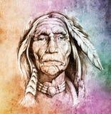 Cabeça indiana americana ilustração do vetor