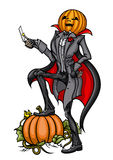 Cabeça Jack da abóbora de Dia das Bruxas com lâmina ilustração royalty free