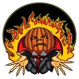 Cabeça Jack Emblem da abóbora de Dia das Bruxas ilustração do vetor