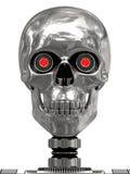 Cabeça metálica do cyborg com olhos vermelhos ilustração do vetor