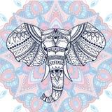 Cabeça modelada étnica do elefante indiano Ilustração do vetor Uso para a cópia, os cartazes, os t-shirt ou algum outro projeto a Imagem de Stock Royalty Free