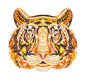 Cabeça modelada detalhada do tigre Projeto asteca tribal étnico do totem indiano africano no fundo do grunge Pode Fotografia de Stock Royalty Free