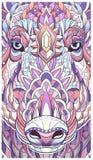 Cabeça modelada do varrão Porco suínos ilustração do vetor