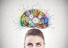 Cabeça pensativa da mulher s, cérebro da roda denteada fotografia de stock