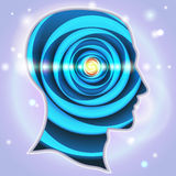 A cabeça perfila a glândula pineal dos símbolos da ideia Imagem de Stock Royalty Free
