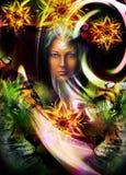 Cabeça poderosa de pintura do tigre, e mulher místico com Imagem de Stock Royalty Free