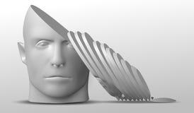 Cabeça quebrada, ilustração 3d A cara da separação de uma pessoa ilustração stock