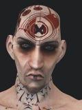 Cabeça-rapada tattooed antipático Fotos de Stock Royalty Free