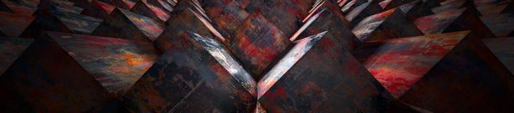 Cabeça realística de 3D Rusty Retangular Metal Blocks Website ilustração stock