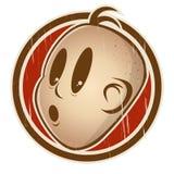 A cabeça retro dos desenhos animados em um emblema é surpreendida Foto de Stock