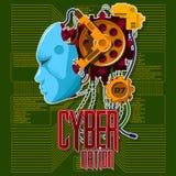 Cabeça robótico com um rosto humano em um fundo verde ilustração royalty free