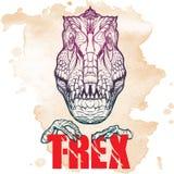 Cabeça rujindo do tiranossauro com sinal do t-rex no fundo do Grunge Imagem de Stock Royalty Free