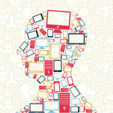 Cabeça social do homem dos ícones dos dispositivos dos media ilustração royalty free