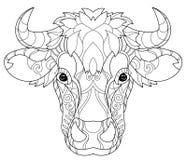 Cabeça tirada mão da vaca do esboço da garatuja Imagem de Stock Royalty Free