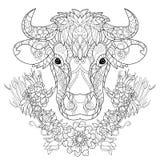 Cabeça tirada mão da vaca do esboço da garatuja Imagens de Stock